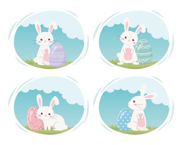 Feliz dia de páscoa, coelhos bonitos com ovos pintados em desenhos animados de grama