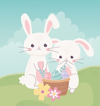 Feliz dia de páscoa, coelhos nasket com ovos decorativos flores grama ilustração vetorial