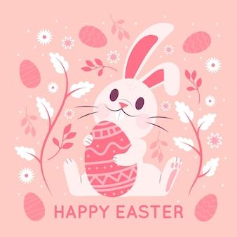 Feliz dia de páscoa com coelhinha segurando ovo