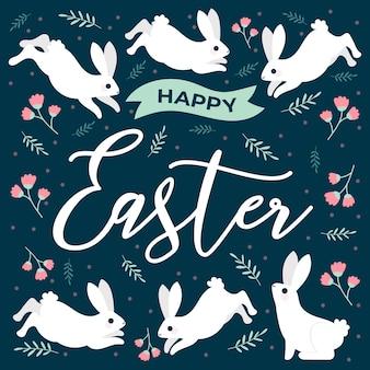 Feliz dia de páscoa com coelhinhos e flores