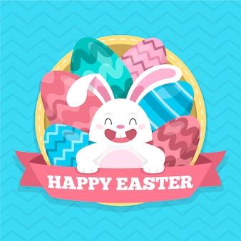 Feliz dia de páscoa com coelho adorável