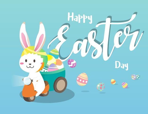 Feliz dia de páscoa com coelho de páscoa branco.