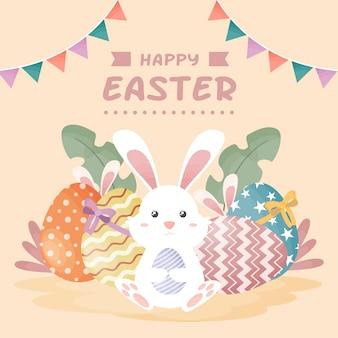 Feliz dia de páscoa com coelho