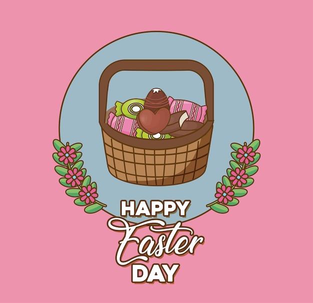 Feliz dia de páscoa com coroa de flores decorativas e cesta com doces