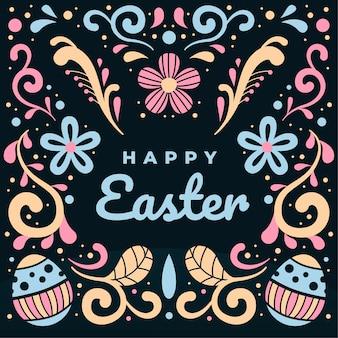 Feliz dia de páscoa com enfeites