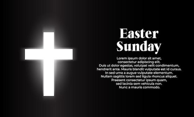 Feliz dia de páscoa com fundo cruzado