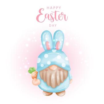 Feliz dia de páscoa com gnomo fofo e ovos de páscoa