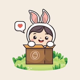 Feliz dia de páscoa com ilustração de coelhinha fofa