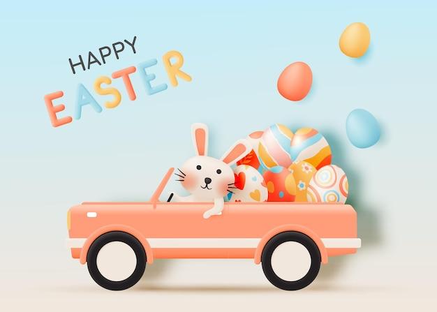 Feliz dia de páscoa com um coelho fofo dirigindo um carro