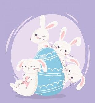 Feliz dia de páscoa, desenhos animados de ovo azul decorativo de coelhos brancos