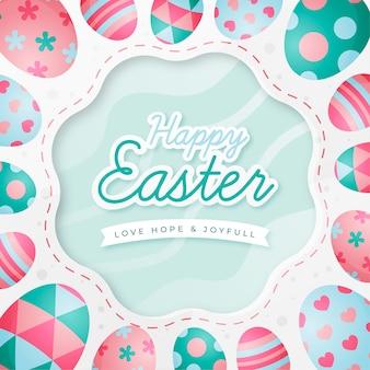 Feliz dia de páscoa design plano com ovos
