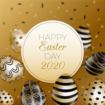 Feliz dia de páscoa dourado conceito