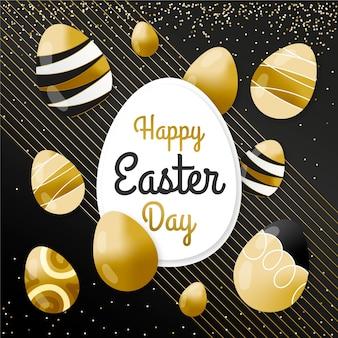 Feliz dia de páscoa dourado