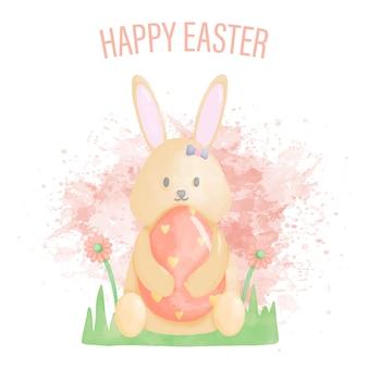 Feliz dia de páscoa em aquarela com coelho e ovos de páscoa