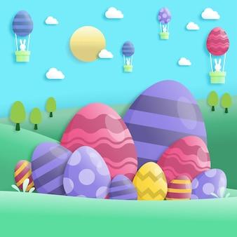 Feliz dia de páscoa em estilo de arte de papel com coelho e ovos de páscoa. cartão de felicitações, cartazes e papel de parede. ilustração vetorial.