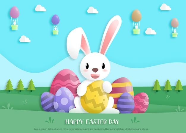 Feliz dia de páscoa em estilo de arte de papel com coelho e ovos de páscoa. cartão de felicitações