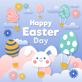 Feliz dia de páscoa em estilo de jornal com coelho e balões de ar quente