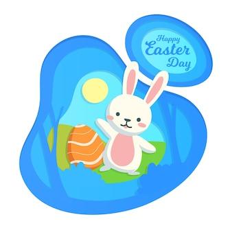 Feliz dia de páscoa em estilo de jornal com coelho