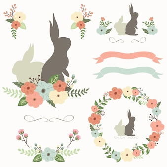 Feliz dia de páscoa floral