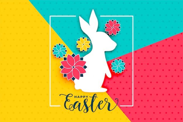 Feliz dia de páscoa fundo com coelho e flor