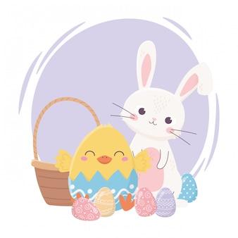 Feliz dia de páscoa, galinha de coelho na decoração de ovos de cesta de casca de ovo