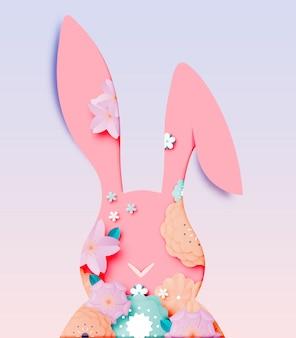 Feliz dia de páscoa no estilo de arte de papel com ilustração vetorial de coelho e ovos