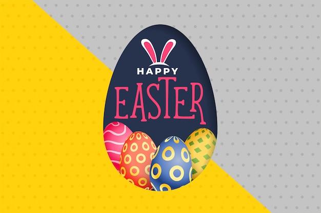 Feliz dia de páscoa ovos coloridos fundo