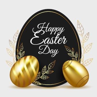 Feliz dia de páscoa ovos e folhas douradas