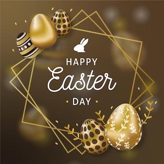 Feliz dia de páscoa ovos e moldura dourada