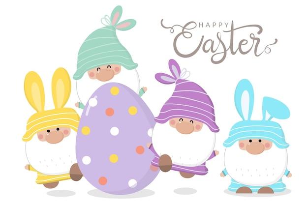 Feliz dia de páscoa saudação com gnomo gnomo, ovo e orelhas de coelho.
