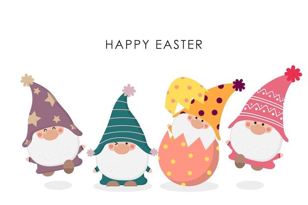 Feliz dia de páscoa saudação com gnomos bonitos e ovo.