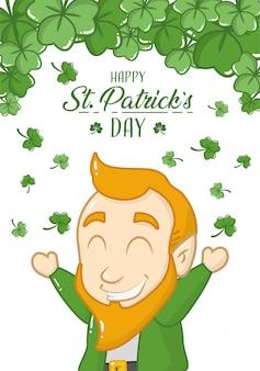 Feliz dia de são patrício cartão, duende irlandês feliz