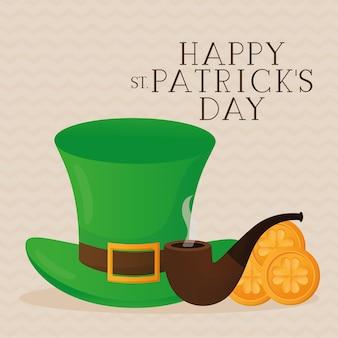 Feliz dia de são patrício, chapéu do dia de são patrício com ilustração de fivela, cachimbo e moedas de ouro