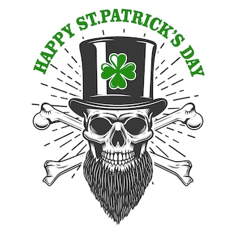 Feliz dia de são patrício. crânio de duende irlandês com trevo. elemento para cartaz, camiseta, emblema, sinal. ilustração
