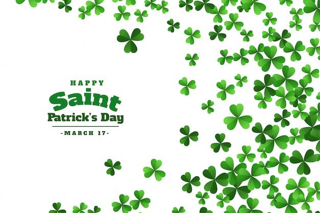 Feliz dia de são patrício trevo verde deixa o fundo
