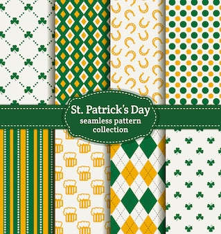 Feliz dia de st.patrick! conjunto de padrões sem emenda.