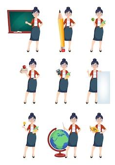 Feliz dia de techer personagem de desenho animado de uma professora bonita com nove poses