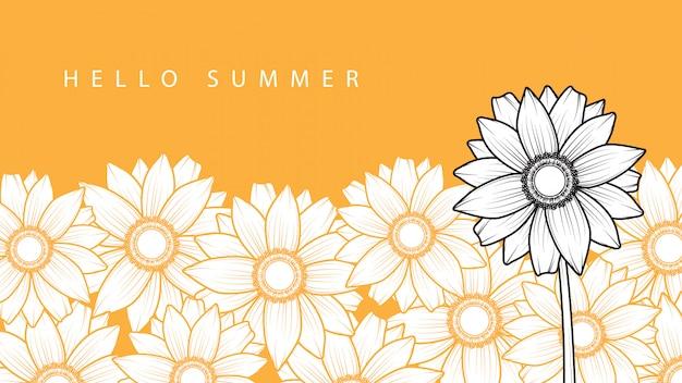 Feliz dia de verão fundo com flor do sol
