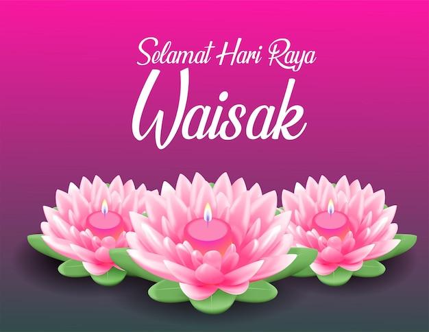 Feliz dia de vesak budha purnama, fundo com lótus rosa realista