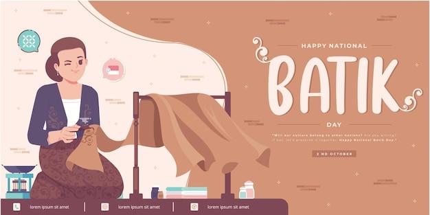 Feliz dia do batik design de banner