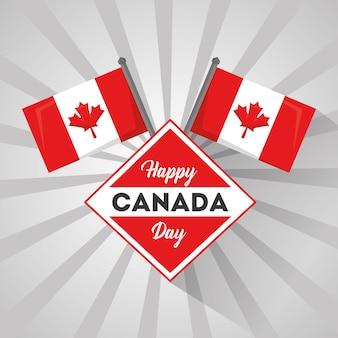 Feliz dia do canadá bandeira nacional símbolo