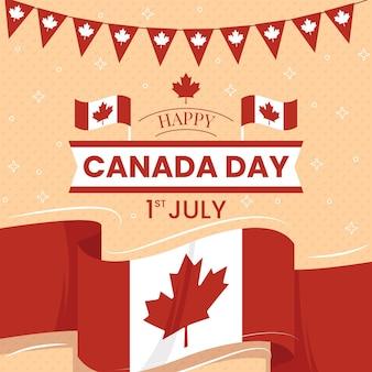 Feliz dia do canadá com bandeira e festão
