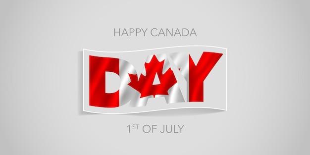 Feliz dia do canadá com bandeira ondulada para o feriado nacional de 1º de julho