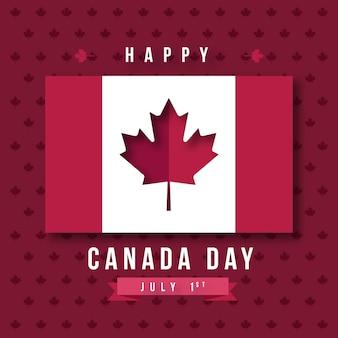 Feliz dia do canadá com bandeira