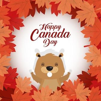 Feliz dia do canadá com castor bonito