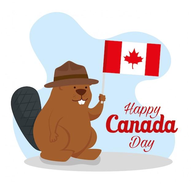 Feliz dia do canadá com castor e bandeira
