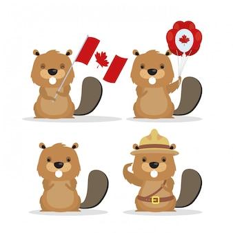 Feliz dia do canadá com castores bonitos