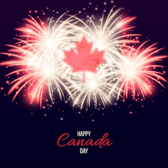 Feliz dia do canadá com fogos de artifício