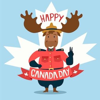 Feliz dia do canadá com guarda florestal raindeer