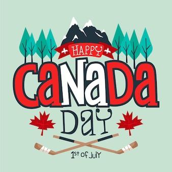 Feliz dia do canadá com montanhas e árvores